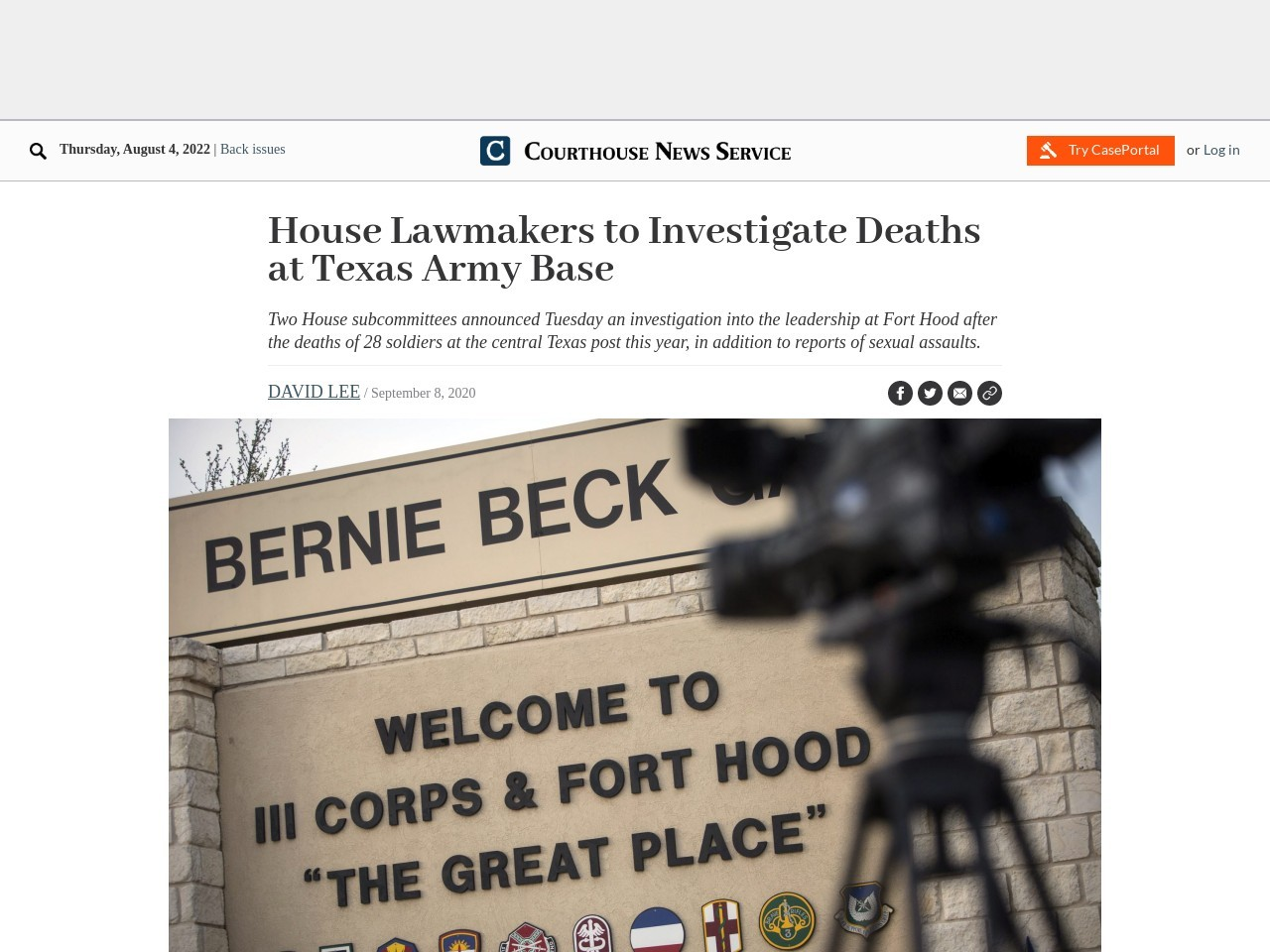 House Lawmakers to Investigate Deaths at Texas Army Base