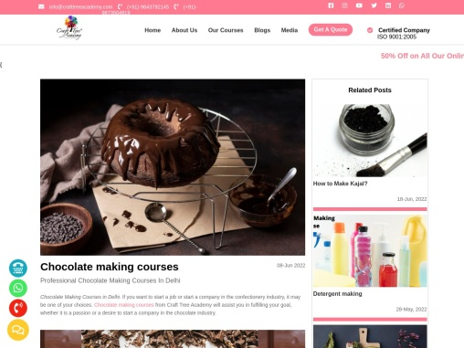 Best chocolate, soap making and skin care products making courses