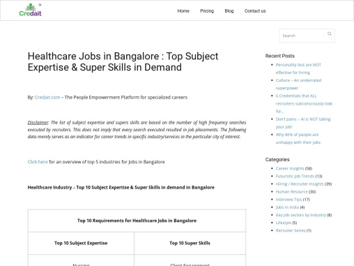 Healthcare Jobs in Bangalore   Medical / Healthcare Industry Jobs in Bangalore   Credait
