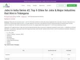 Jobs in Telangana | Major Industries in Telangana | Credait