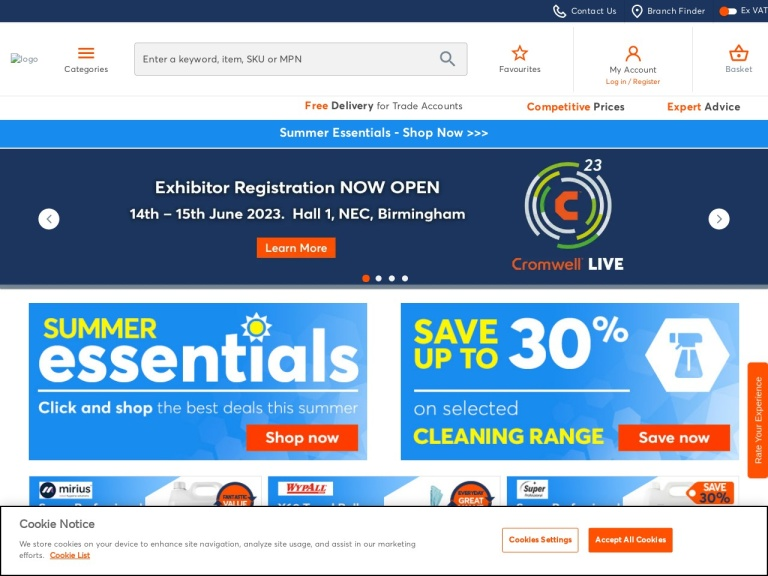 Cromwell Tools And Building Supplies screenshot
