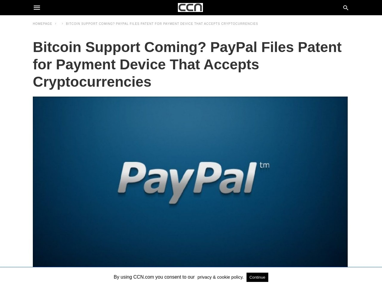 Bitcoin Support Coming? PayPal Files Patent for Payment Device That Accepts Cryptocurrencies