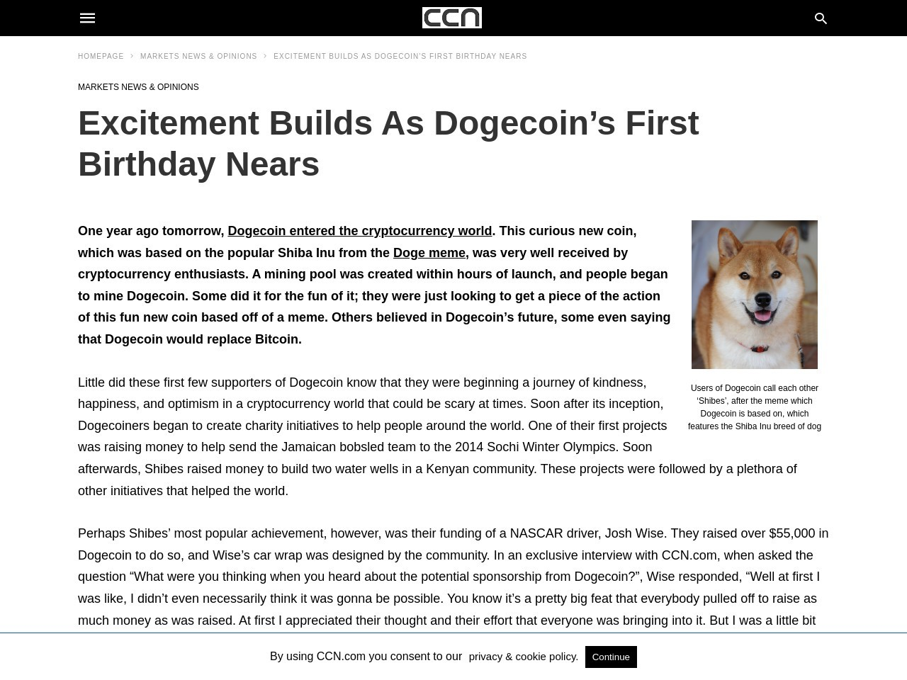 Excitement Builds As Dogecoin's First Birthday Nears