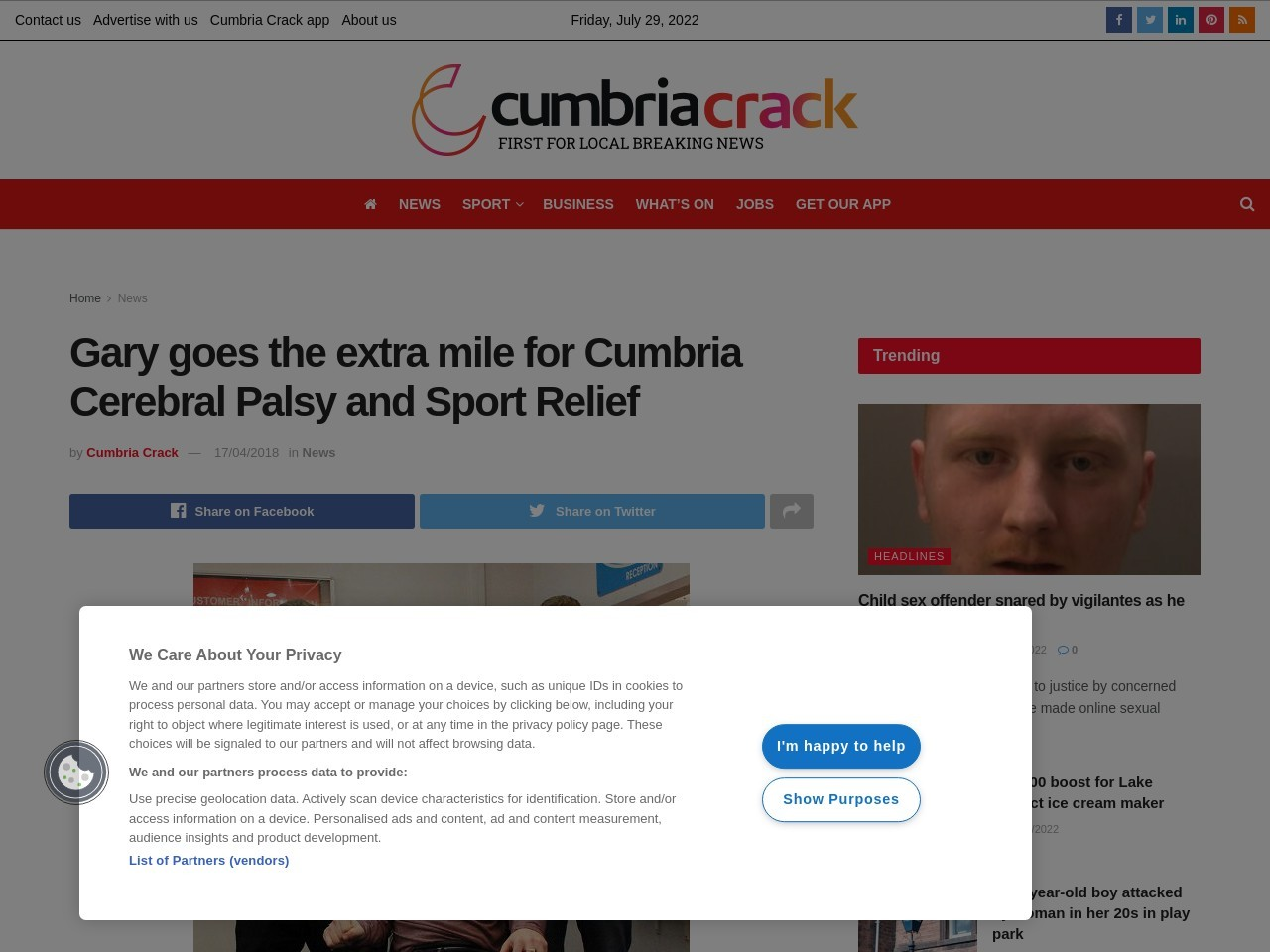 Gary goes the extra mile for Cumbria Cerebral Palsy and Sport Relief