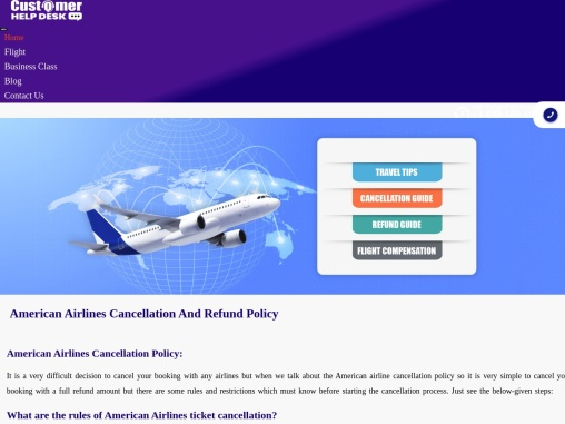 American Airlines Cancellation, Refund Policy | Cancel Flight Ticket