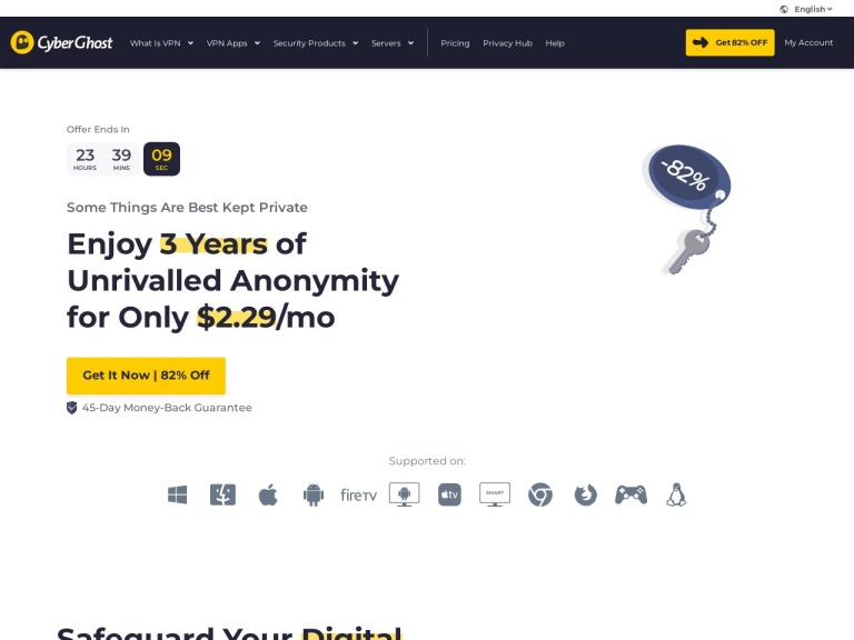 CyberGhost VPN Coupons and Discounts February 2021 screenshot