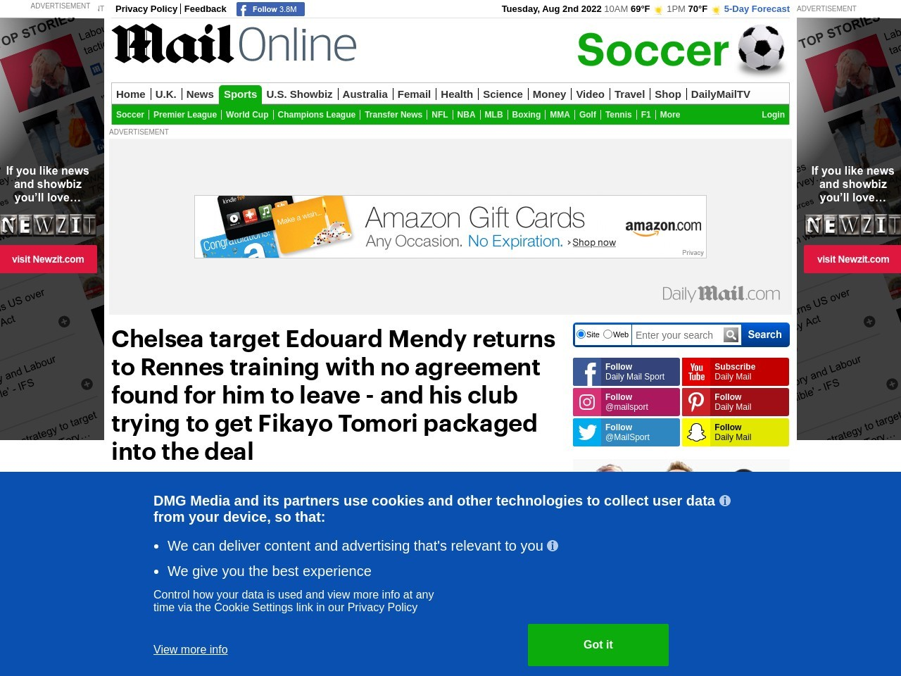 Edouard Mendy's move to Chelsea 'held up by Rennes who now want Fikayo Tomori as part of the deal'