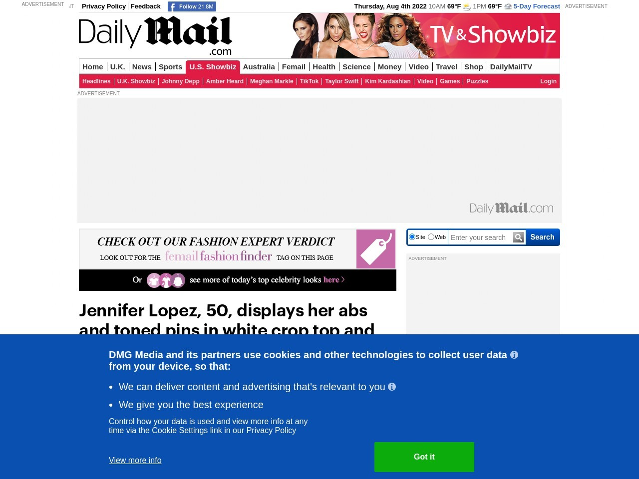 Jennifer Lopez, 50, displays her etched abs and toned pins at Magic…