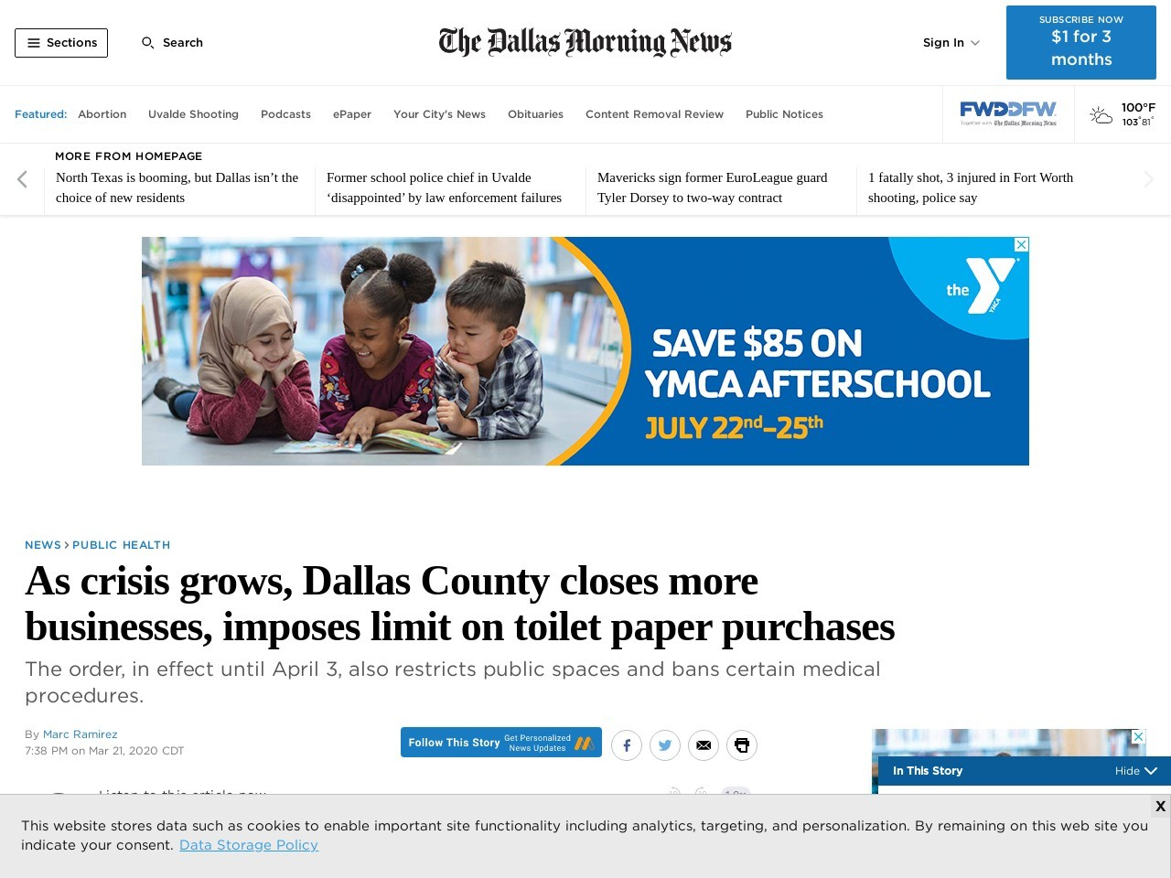 Dallas County closes more businesses, rolls out toilet-paper purchase limit as COVID-19 crisis grows