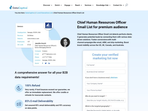 Chief Human Resources Officer Email List | CHRO Mailing Database