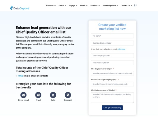 Chief Quality Officer Email List   Verified Mailing Addresses