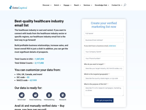 Healthcare Industry Email List | Medical Industry Mailing Database