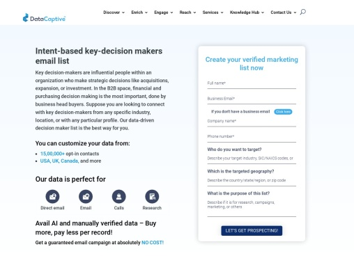 Key Decision Makers Email List | B2B Contact Database