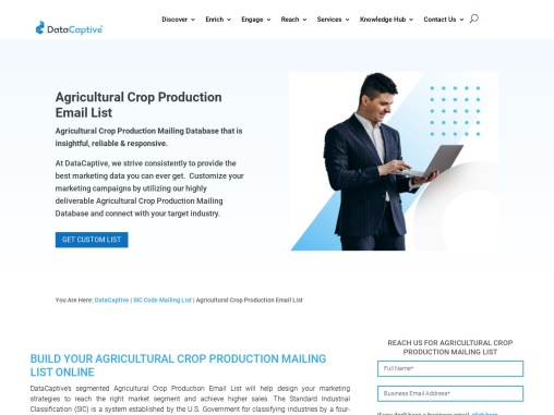 Agricultural Crop Production Email List | Crop Industry Mailing Database