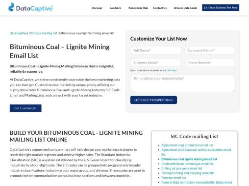 Bituminous Coal & Lignite Surface Mining Email List | bituminous coal & lignite mining email list