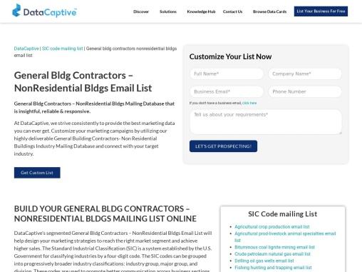 General Buildings Contractors NonResidential Buildings Email List
