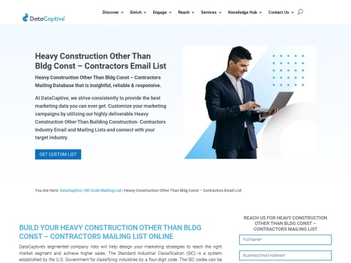 Heavy Construction Other Than Bldg Const – Contractors Email Business Data Sets
