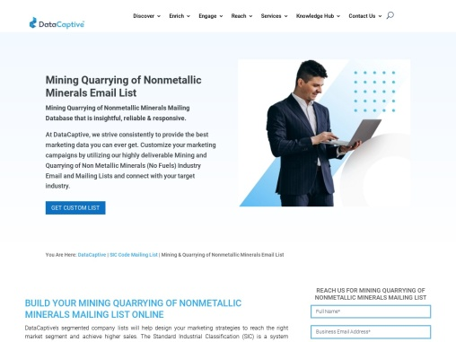 Mining Quarrying of Nonmetallic Minerals Email List | SIC Code 1400 Data