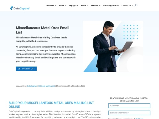 Miscellaneous Metal Ores Email List | Miscellaneous Metal Ores Database