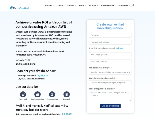 Amazon Web Services Users Email List | Amazon Web Services Database