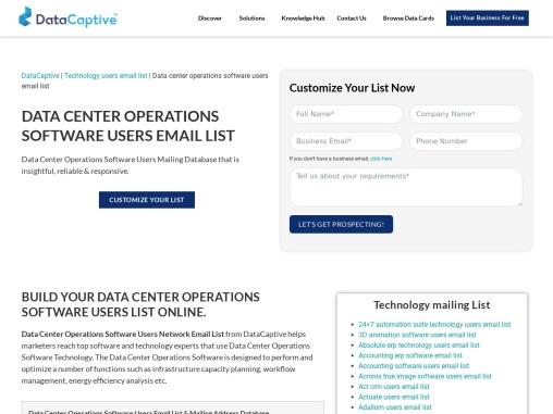Best Data Center Operations Software Users Custom Database |USA