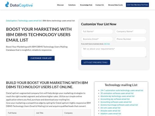 IBM DBMS Technology Users Email List | IBM DBMS Customer Database