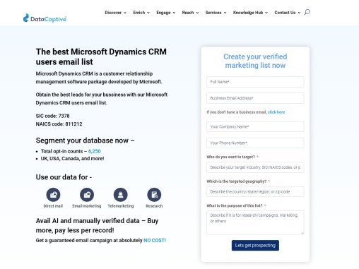 MS Dynamics CRM Users Email List Providers