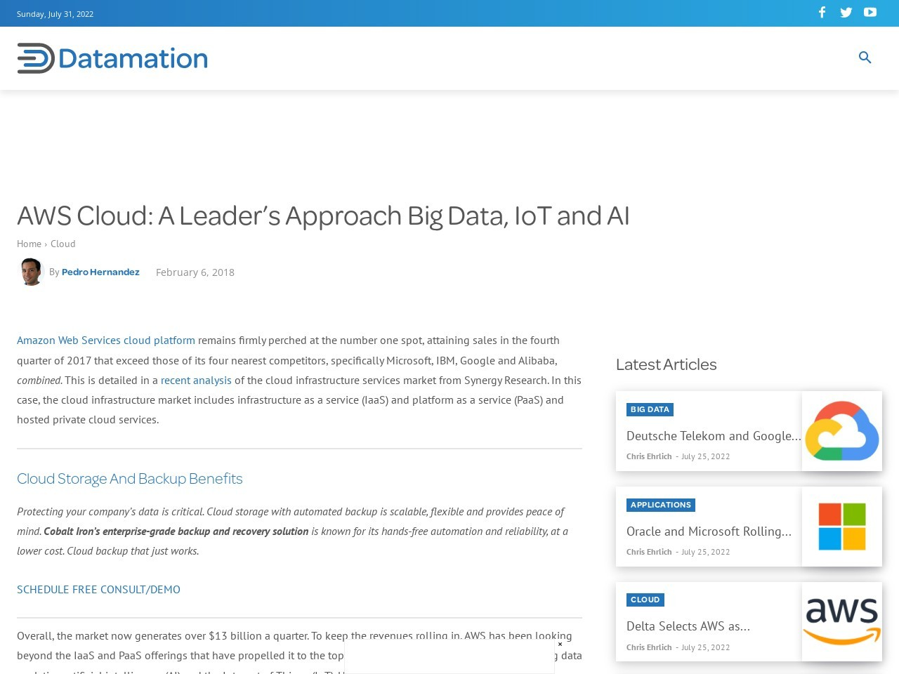 AWS Cloud: A Leader's Approach Big Data, IoT and AI