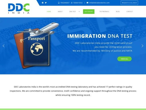 DNA testing for immigration: DDC Laboratories India.