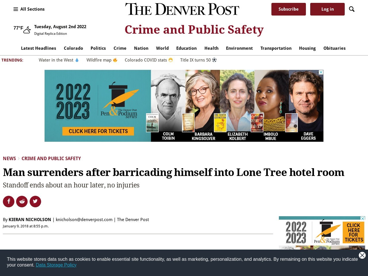 Man surrenders after barricading himself into Lone Tree hotel room