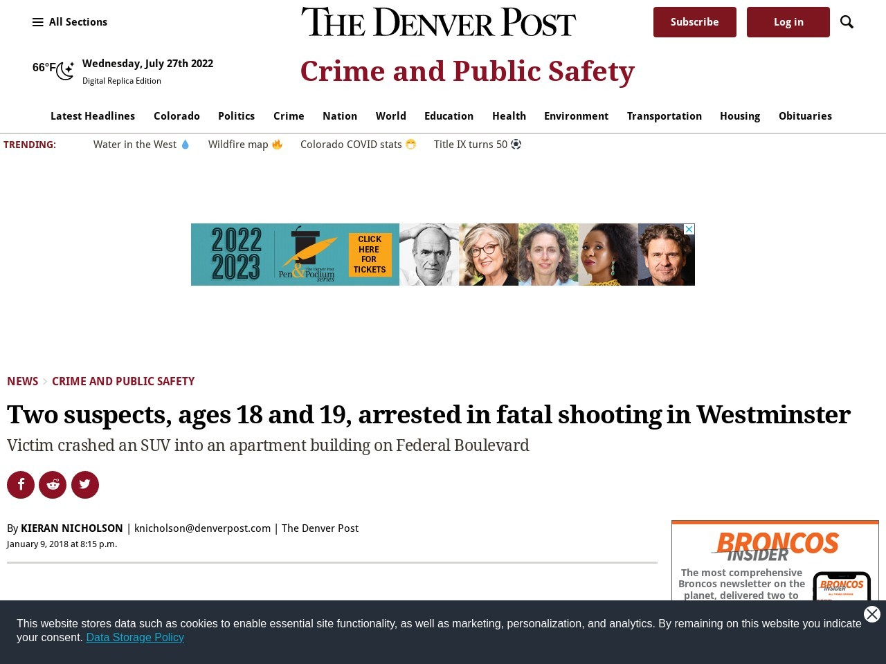 Two suspects, ages 18 and 19, arrested in fatal shooting in Westminster