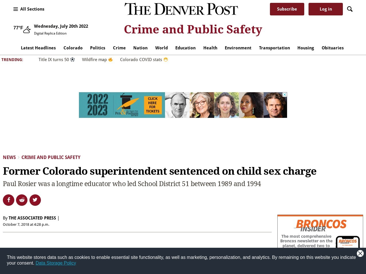Former Colorado superintendent sentenced on child sex charge