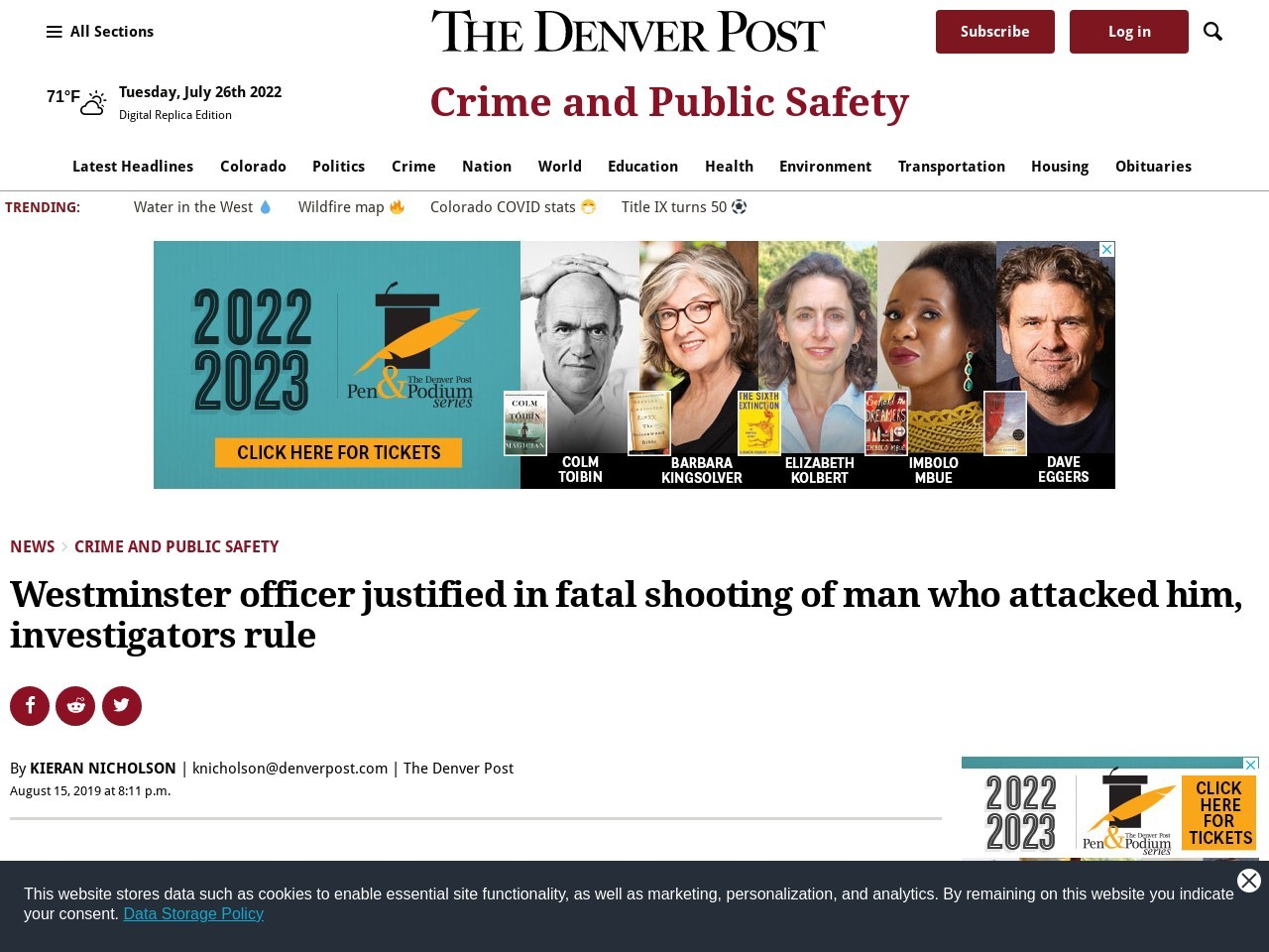 Westminster officer justified in fatal shooting of man who attacked him, investigators rule