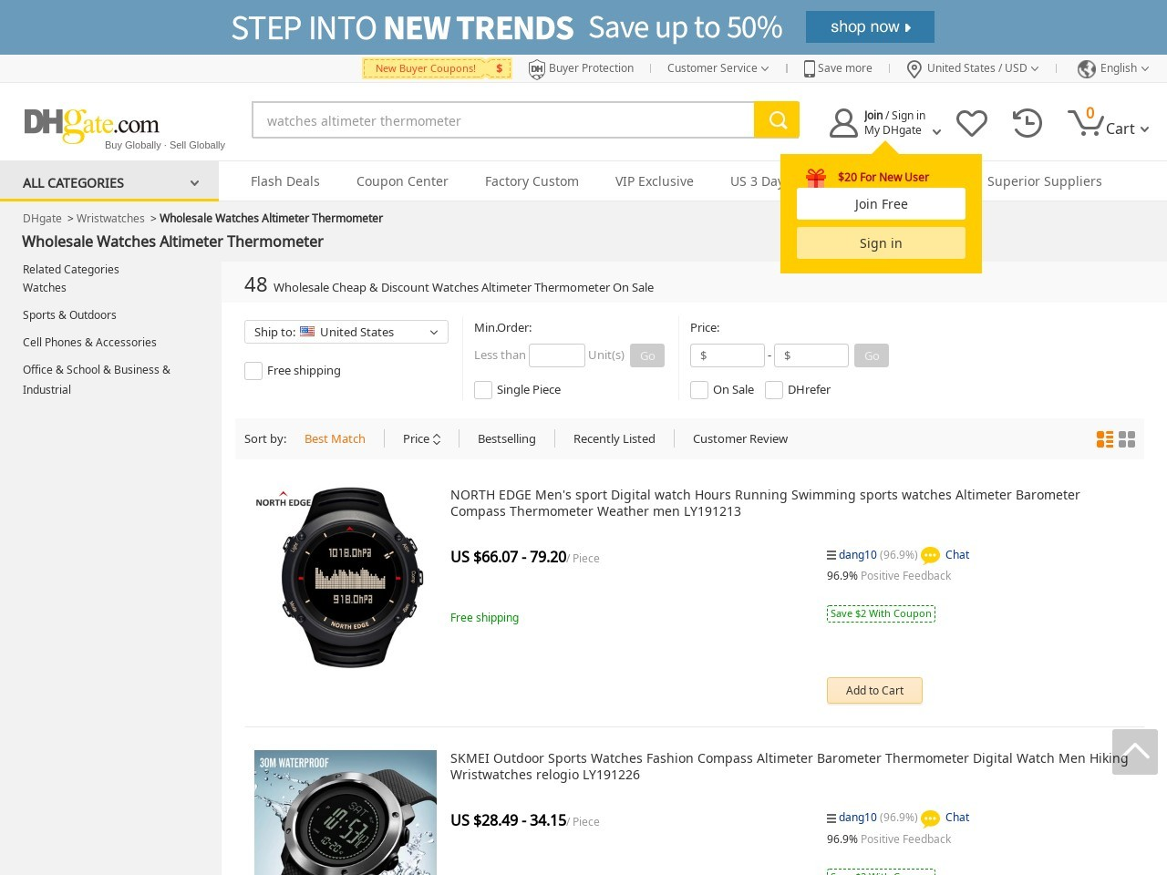 Wholesale best watch thermometer altimeter – Buy Cheap watch…