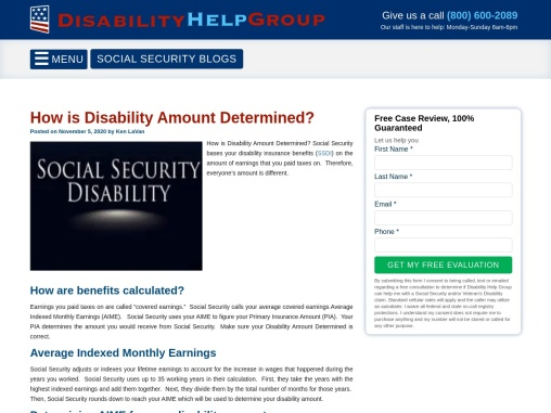 How is Disability Amount Determined?