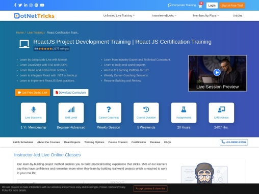 About ReactJS Certification Training