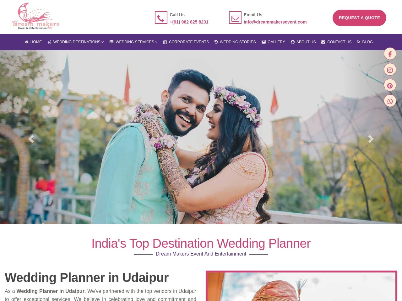 Dreammakers organize best Destination wedding in Udaipur