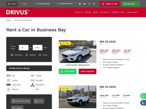 Great Deals on Rent A Car in Business Bay