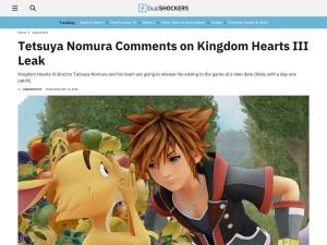 Tetsuya Nomura Comments on Kingdom Hearts III Leak