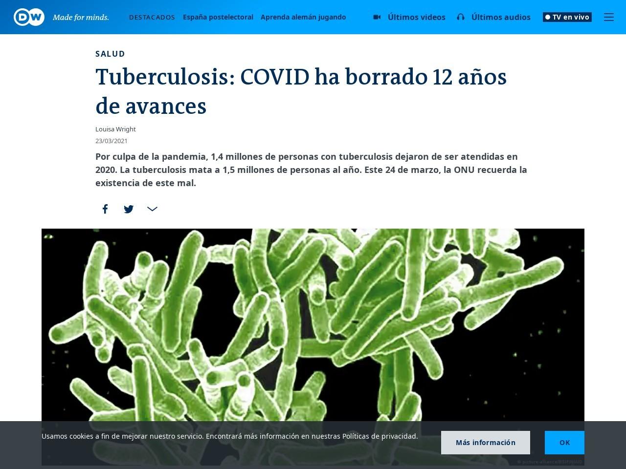 Tuberculosis: COVID ha borrado 12 años de avances   DW   23.03.2021