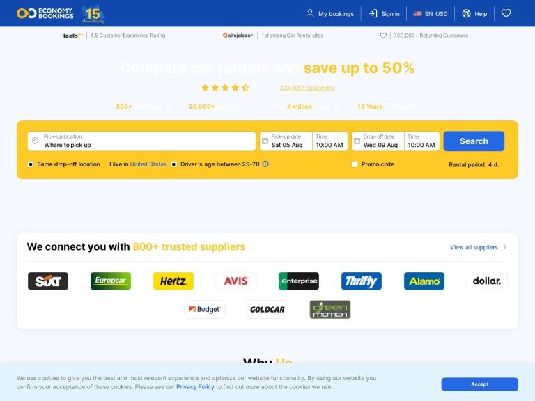 EconomyBookings.com screenshot