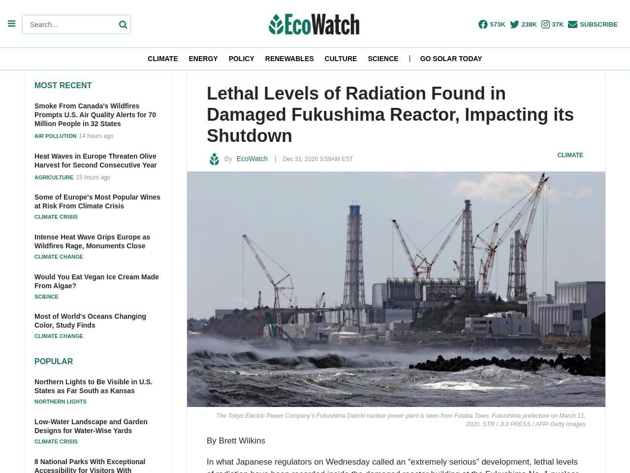 Lethal Levels of Radiation Found in Damaged Fukushima Reactor, Impacting its Shutdown – EcoWatch