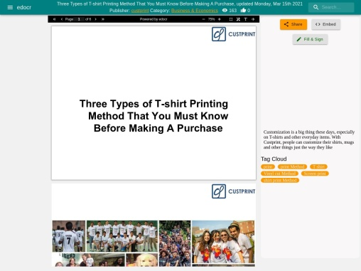Three Types of T-shirt Printing Method That You Must Know Before Making A Purchase