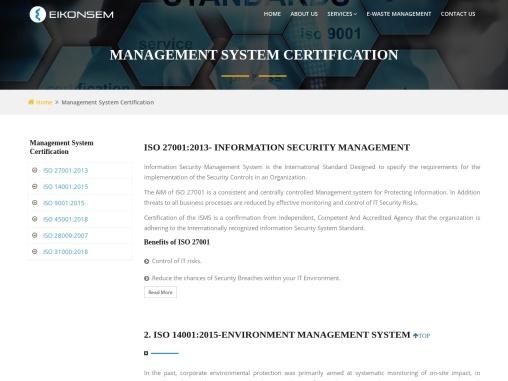 Management System Certification : ISO Certification eikonsem certification services