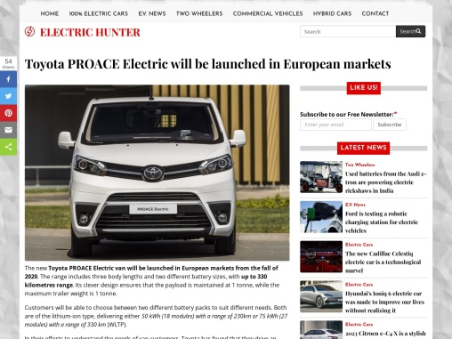 The new Toyota Proace Electric Van