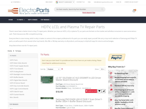 TV Replacement Parts   ElectroParts
