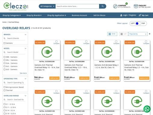 siemens overload relays price list