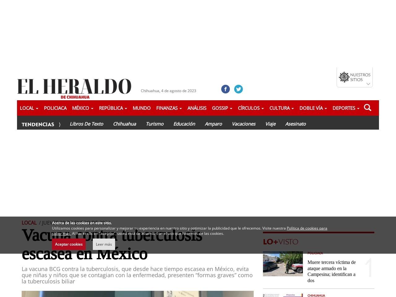 Vacuna contra tuberculosis escasea en México