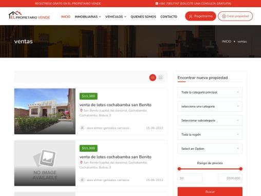 Casa, Apartamento, Propiedad, Oficina, Venta, Compra y Alquiler en Bolivia   El Propietario Vende