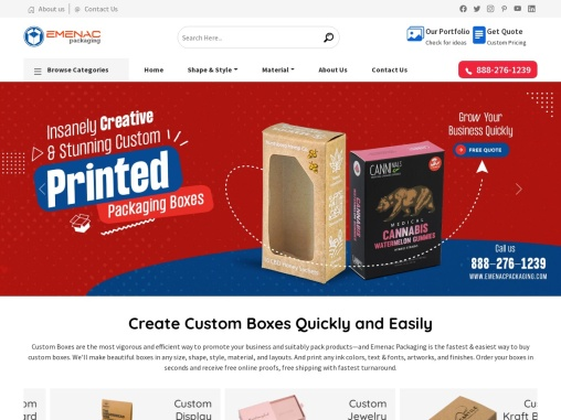 With 10 years of experience, Emenac Packaging caters to custom printed boxes & custom packaging boxe